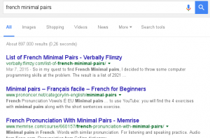"""I hold the top spot on Google for """"French minimal pairs"""""""